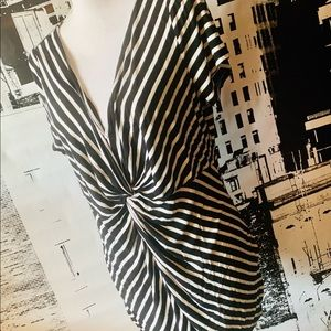 Black and white striped maternity shirt XL